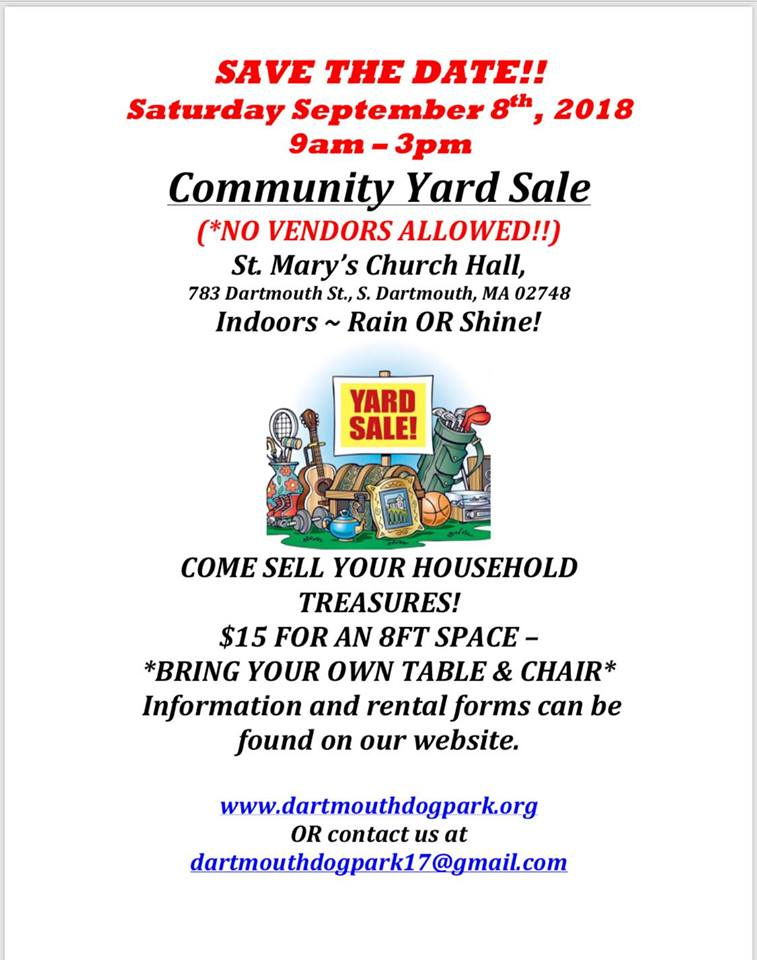 sept 8th community yard sale fundraiser st mary s church